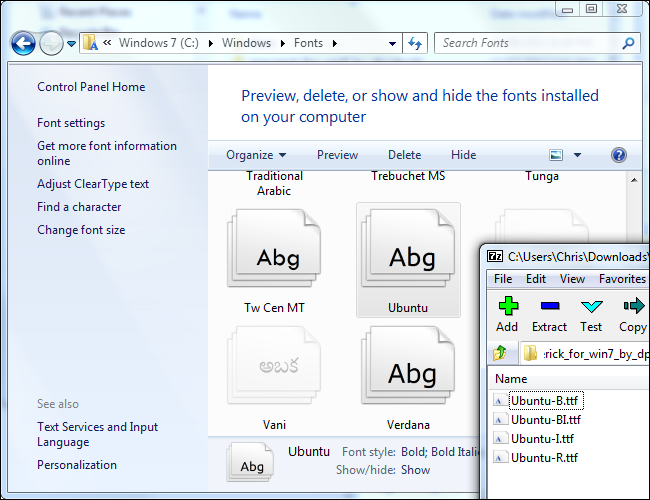 Install fonts in Windows 7