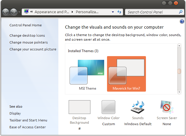 Select custom Windows 7 theme